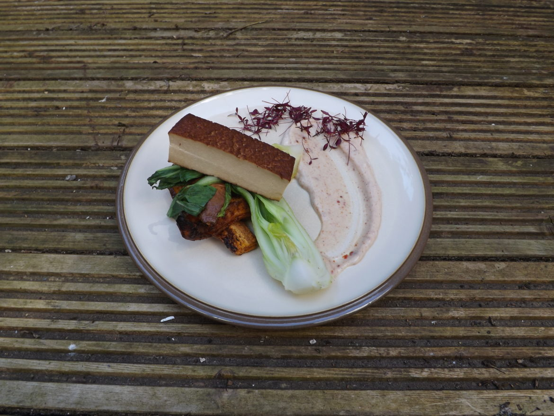 Roasted Smoked Tofu with Sweet Potatoe Wedges and Harissa Coconut Yogurt