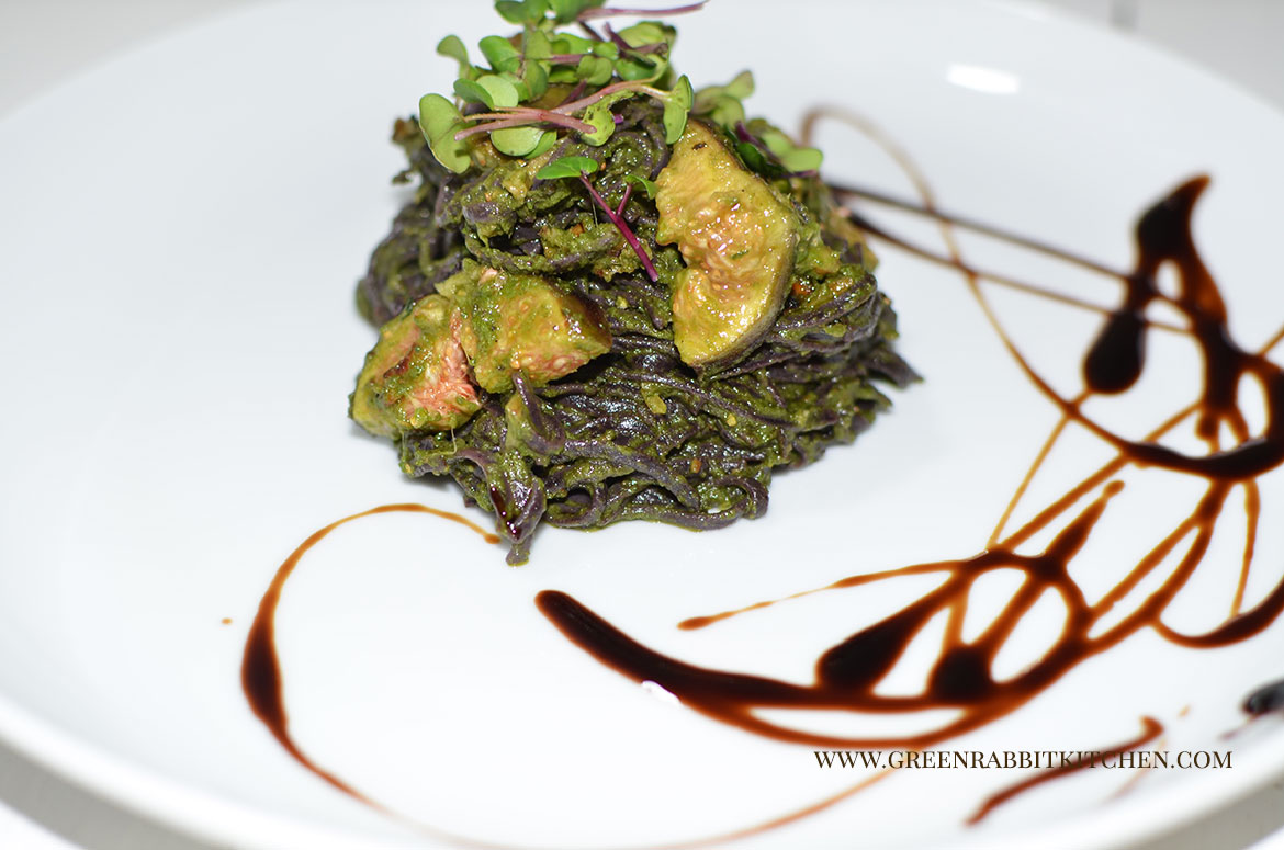 Black Rice Noodle Pasta with Wild Garlic Pesto and Figs