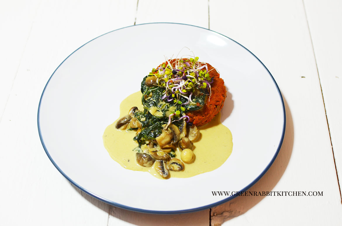 Sweet Potato Rosti with Spinach and Mushroom Sauce