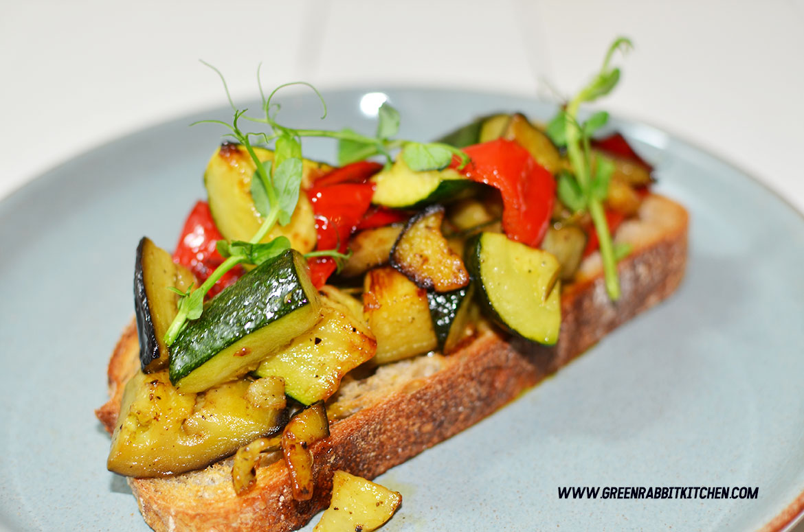 Vegan Roast Vegetable Sourdough Bruschetta