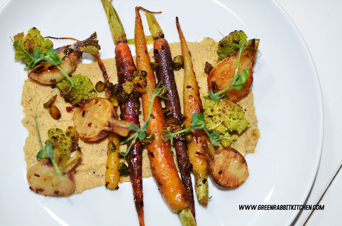 Pan Fried Heritage Baby Carrots Salad with Black Truffle Hummus 04