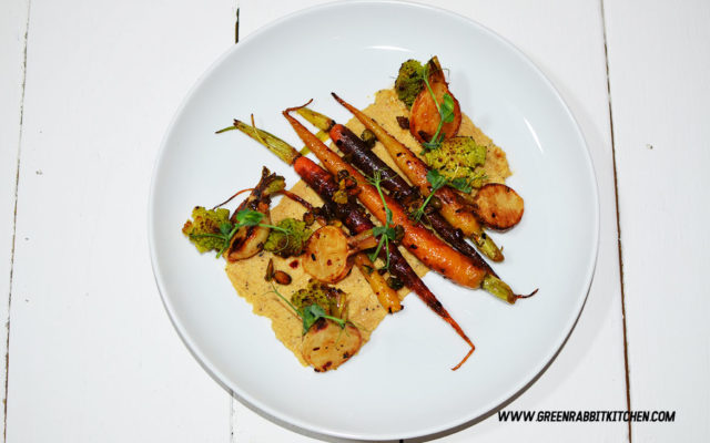 Pan Fried Heritage Baby Carrots Salad with Black Truffle Hummus 05