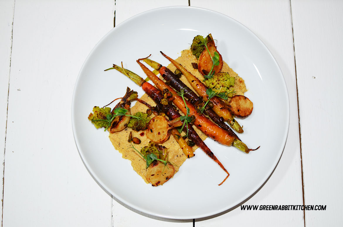 Pan Fried Heritage Baby Carrots Salad with Black Truffle Hummus