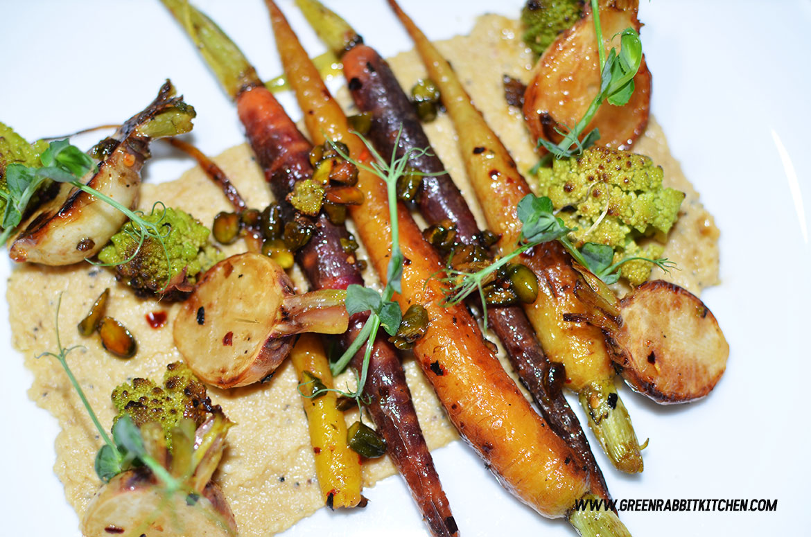 Pan Fried Heritage Baby Carrots Salad with Black Truffle Hummus 06