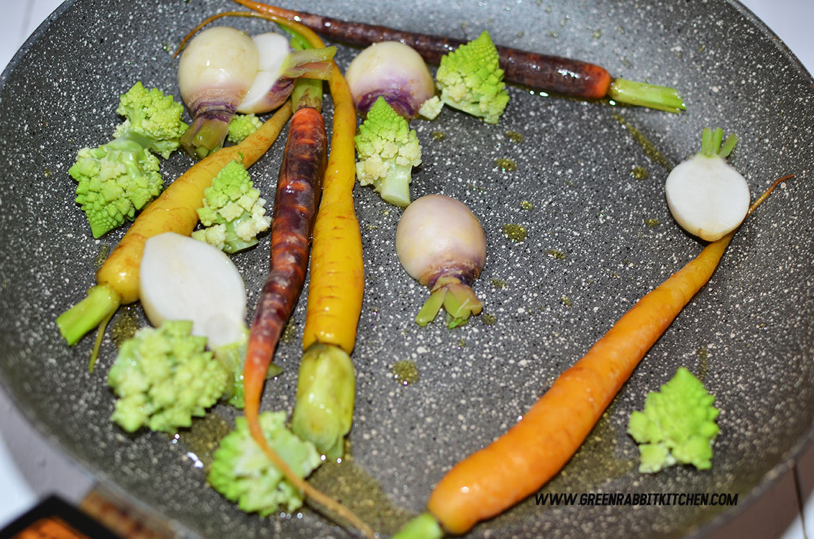 Pan Fried Heritage Baby Carrots Salad with Black Truffle Hummus 12