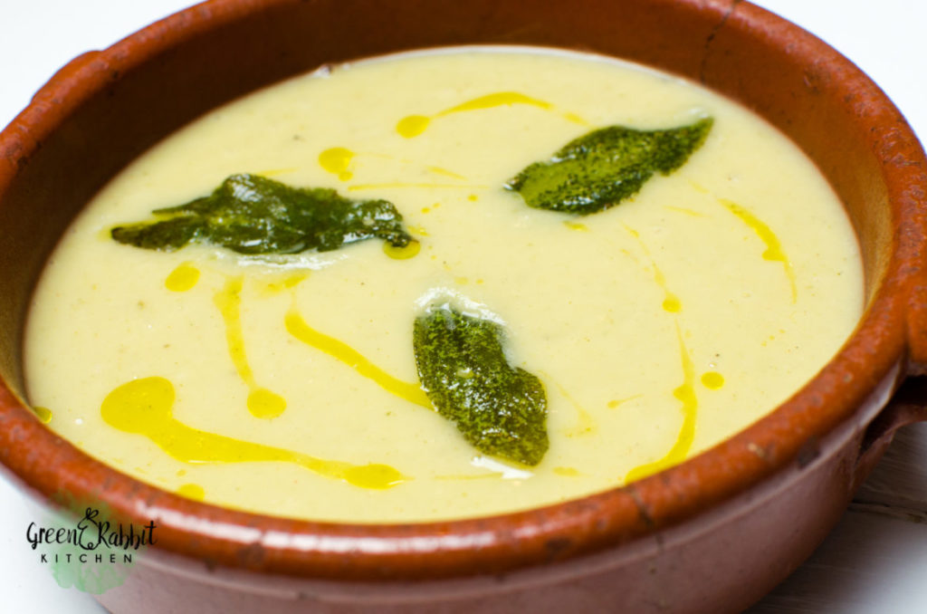 Vegan Celeriac and Asian Pear Soup with Crispy Sage