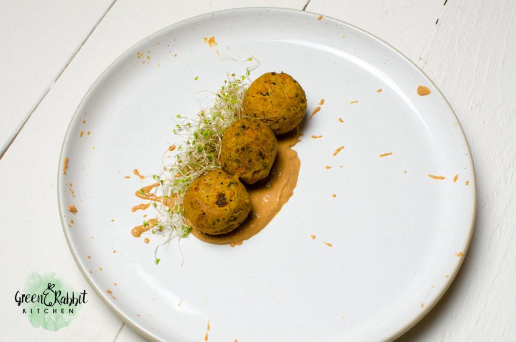 Vegan Sweet Potato Quinoa Falafel with Roasted Pepper Walnut Dressing