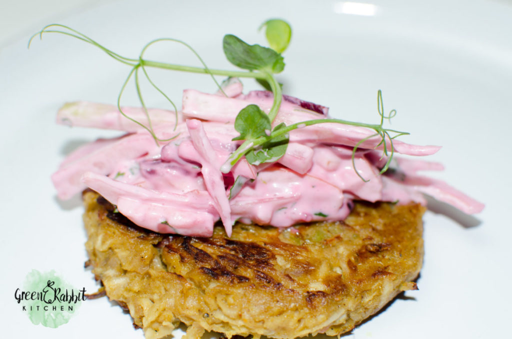 Vegan Celeriac and Red Grapes Fritters